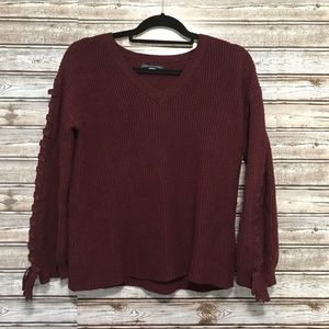 AEO Tie Lace Up Sleeve Burgundy Sweater Small